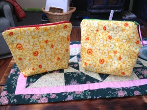 Make-up bags. You can see the bag on the right was my first back into working with zippers :D