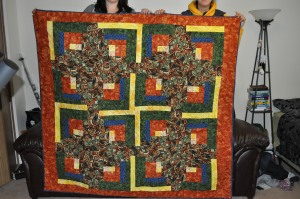 With the help of my good friend we were able to bust out this quilt in 16 hours for my aunt and uncles 50th anniversary.